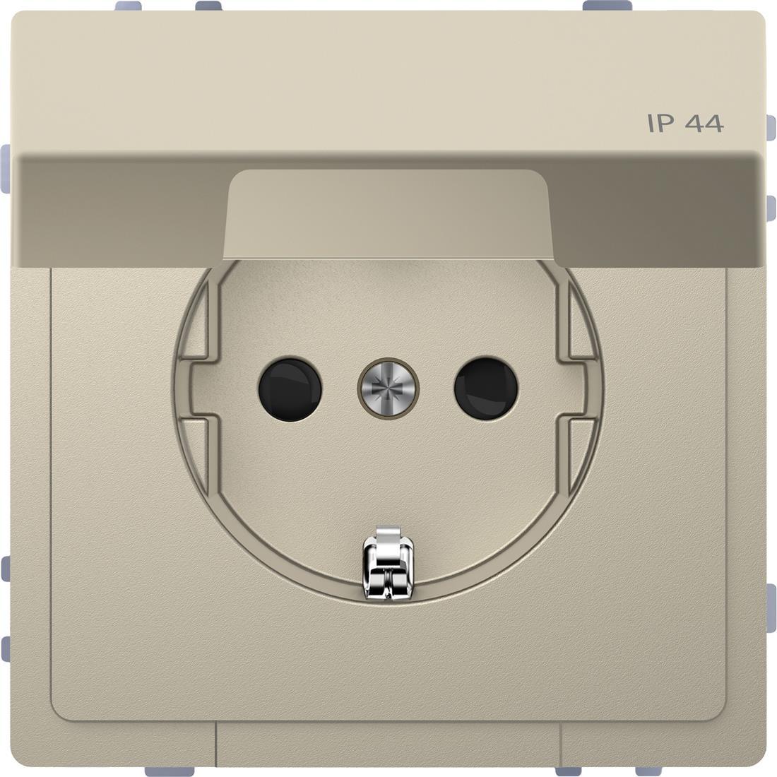 Schneider-Merten D Life wandcontactdoos met klapdeksel en kinderbeveiliging voor IP44 - sahara (MTN2314-6033)
