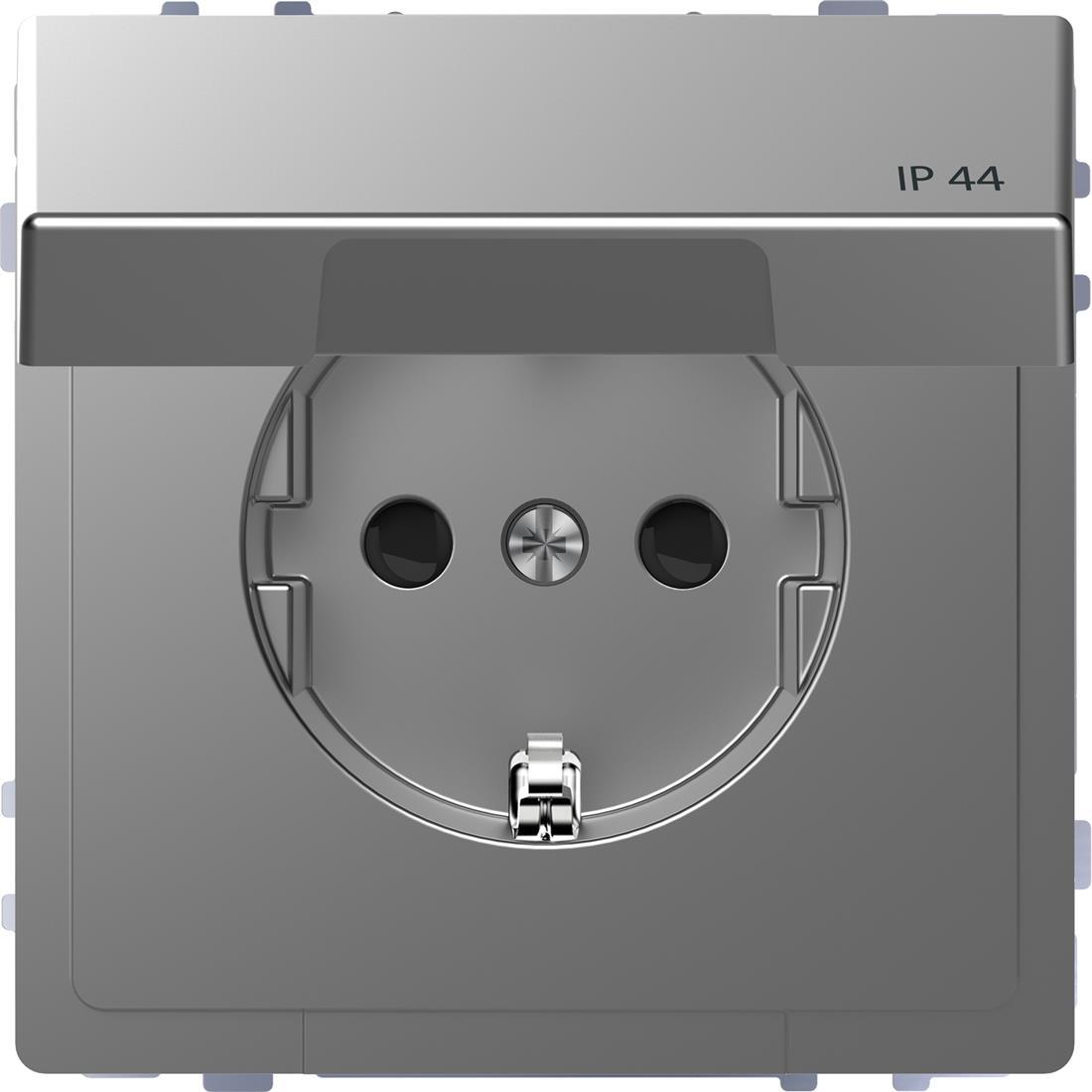 Schneider-Merten D Life wandcontactdoos met klapdeksel voor IP44 met kinderbeveiliging - RVS look (MTN2314-6036)