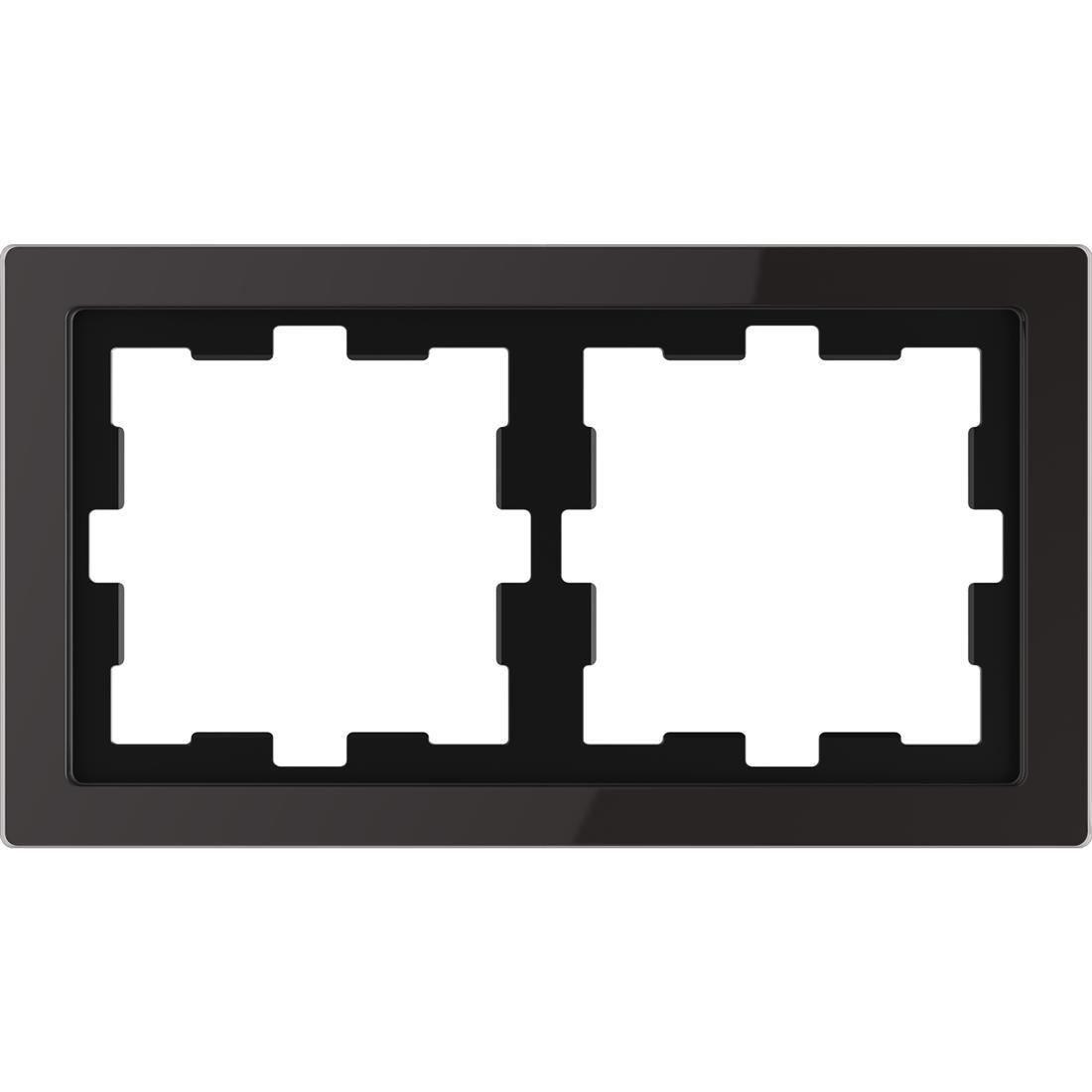 Schneider-Merten D Life afdekraam 2-voudig - glas zwart (MTN4020-6503)