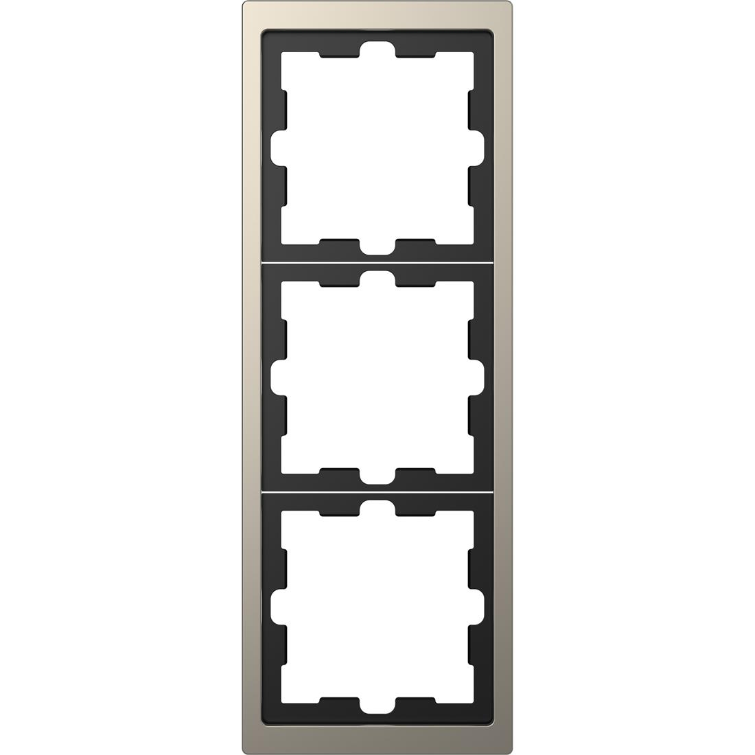 Schneider-Merten D Life afdekraam 3-voudig - nikkel metallic (MTN4030-6550)