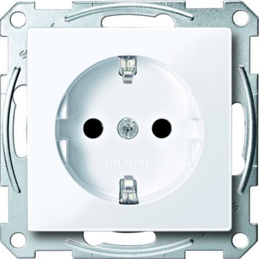 Schneider-Merten Systeem M wandcontactdoos met randaarde en kinderbeveiliging 1-voudig - actief wit mat RAL 9016 (MTN2300-0325)