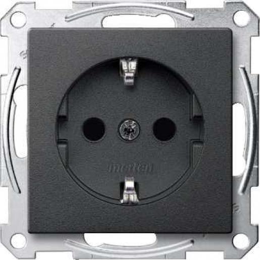 Schneider-Merten Systeem M wandcontactdoos met randaarde en kinderbeveiliging 1-voudig - antraciet mat RAL 7024 (MTN2300-0414)