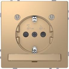 Schneider Electric Merten D Life wandcontactdoos met LED en kinderbeveiliging - champagne metallic (MTN2304-6051)