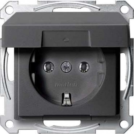 Schneider-Merten Systeem M wandcontactdoos met randaarde en klapdeksel 1-voudig - antraciet mat RAL 7024 (MTN2311-0414)
