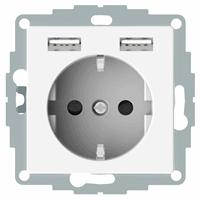 Schneider-Merten systeem M SCHUKO wandcontactdoos met twee USB en randaarde - polarwit glanzend (MTN2366-0319)