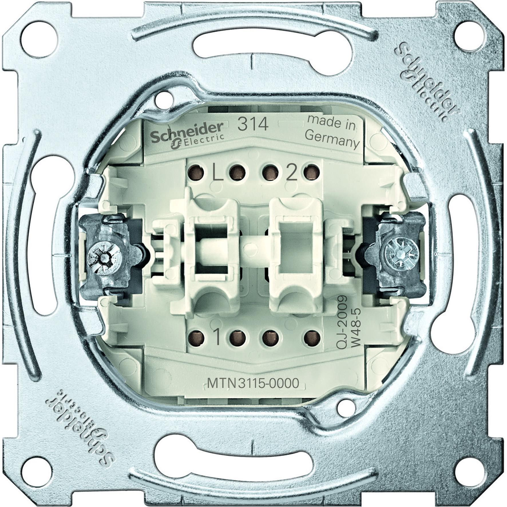 Schneider-Merten serieschakelaarsokkel, 1-polig, 10 AX, AC 250 V met insteekklemmen (MTN3115-0000)