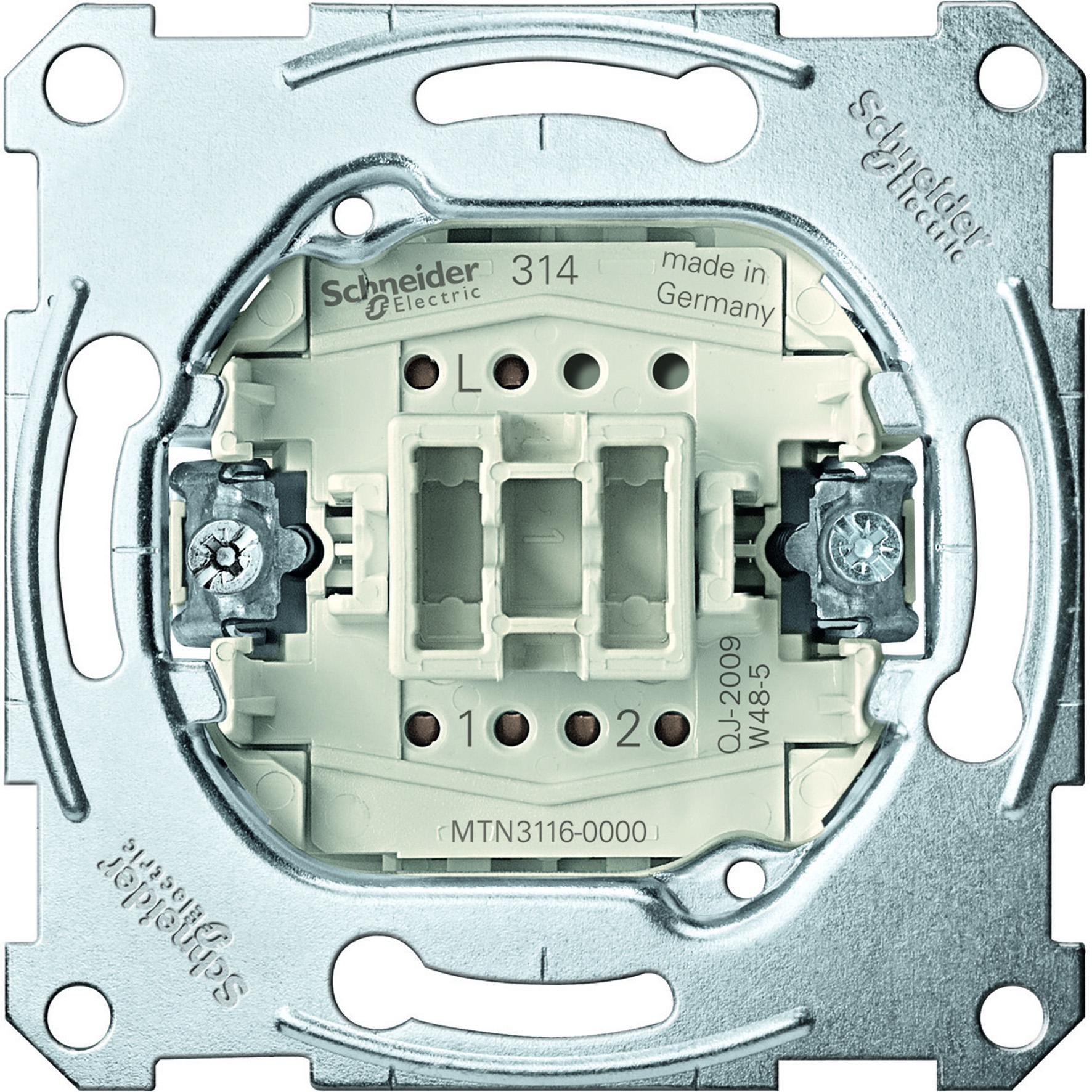 Schneider-Merten wisselschakelaarsokkel, 1-polig 10AX, AC 250 V met insteekklemmen (MTN3116-0000)