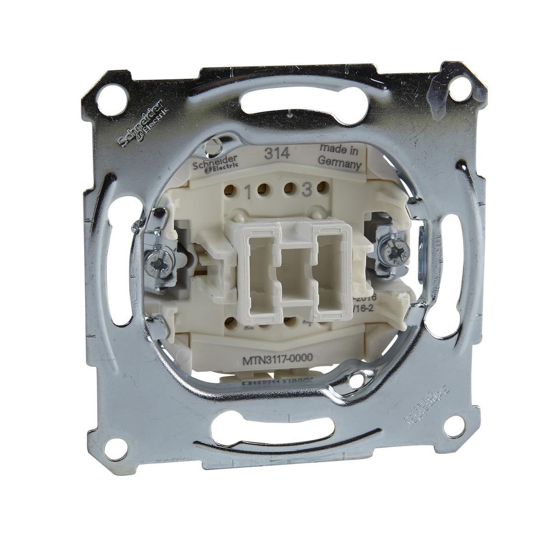 Schneider-Merten kruisschakelaarsokkel, 1-polig, 10 AX, AC 250 V, insteekklemmen (MTN3117-0000) per 10 stuks
