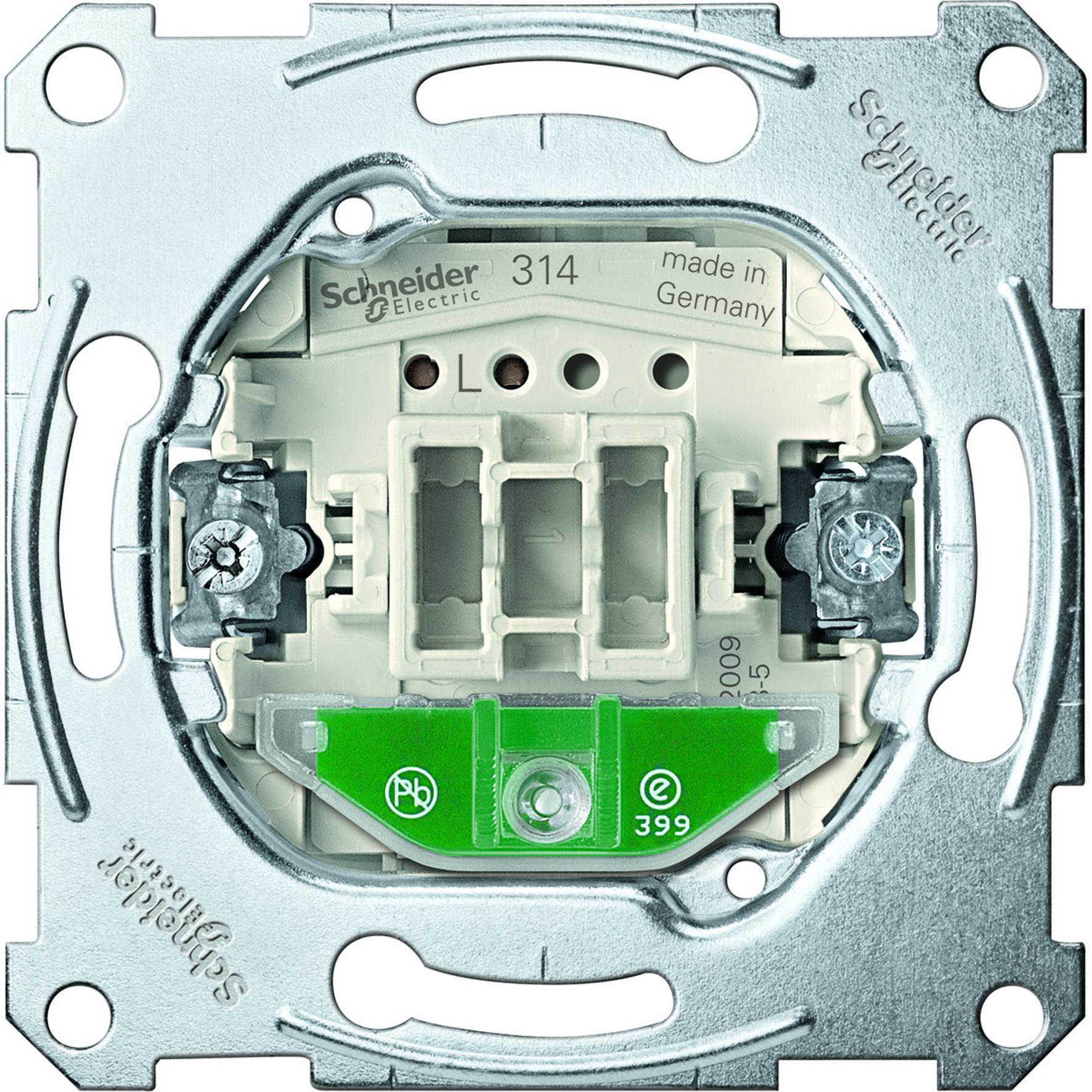Schneider-Merten wisselschakelaarsokkel met orientatieverlichting, 1-polig, 10 AX, AC 250 V met steekklemmen (MTN3136-0000)