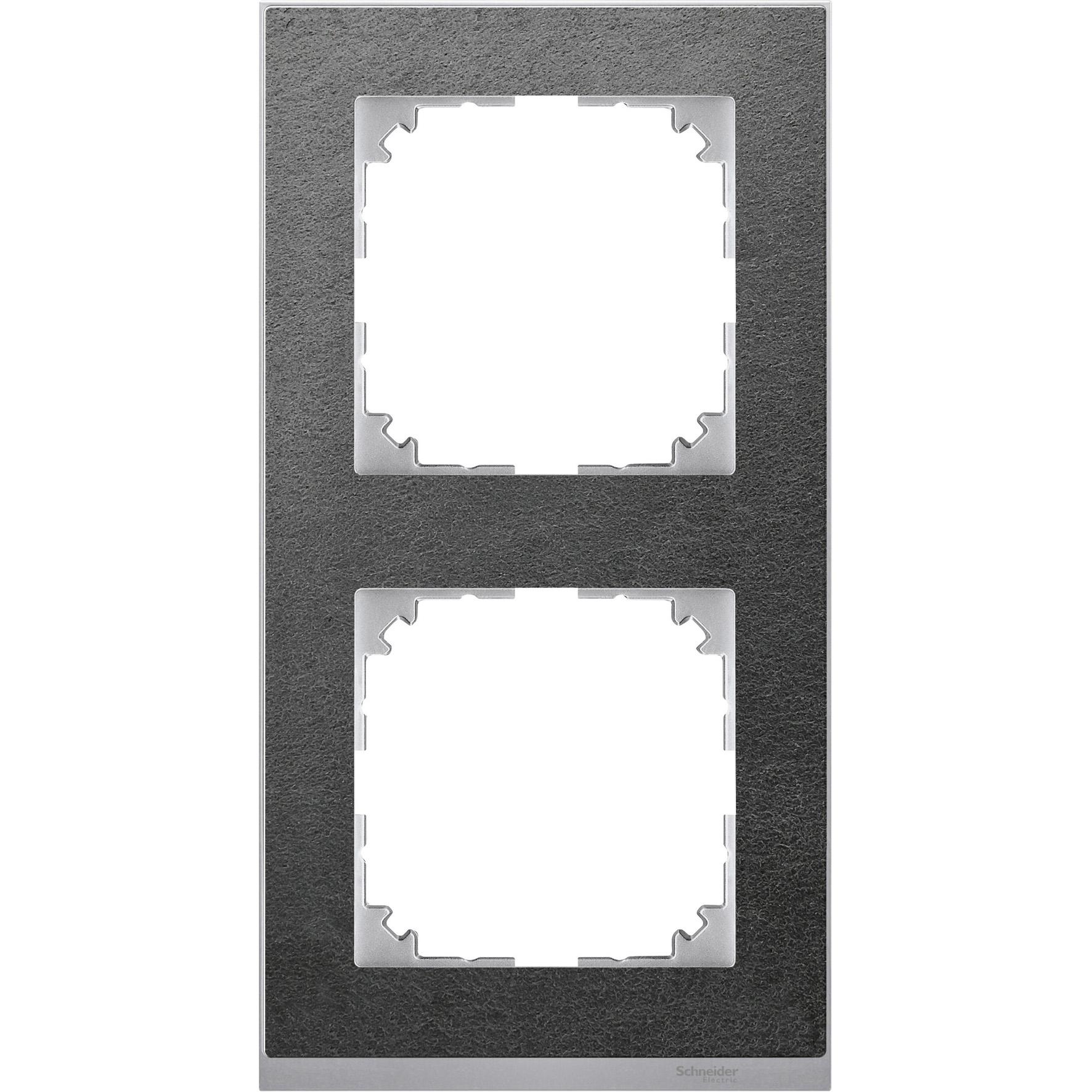 Schneider-Merten M-Pure Décor 2-voudig afdekraam - steen/aluminium (MTN4020-3669)
