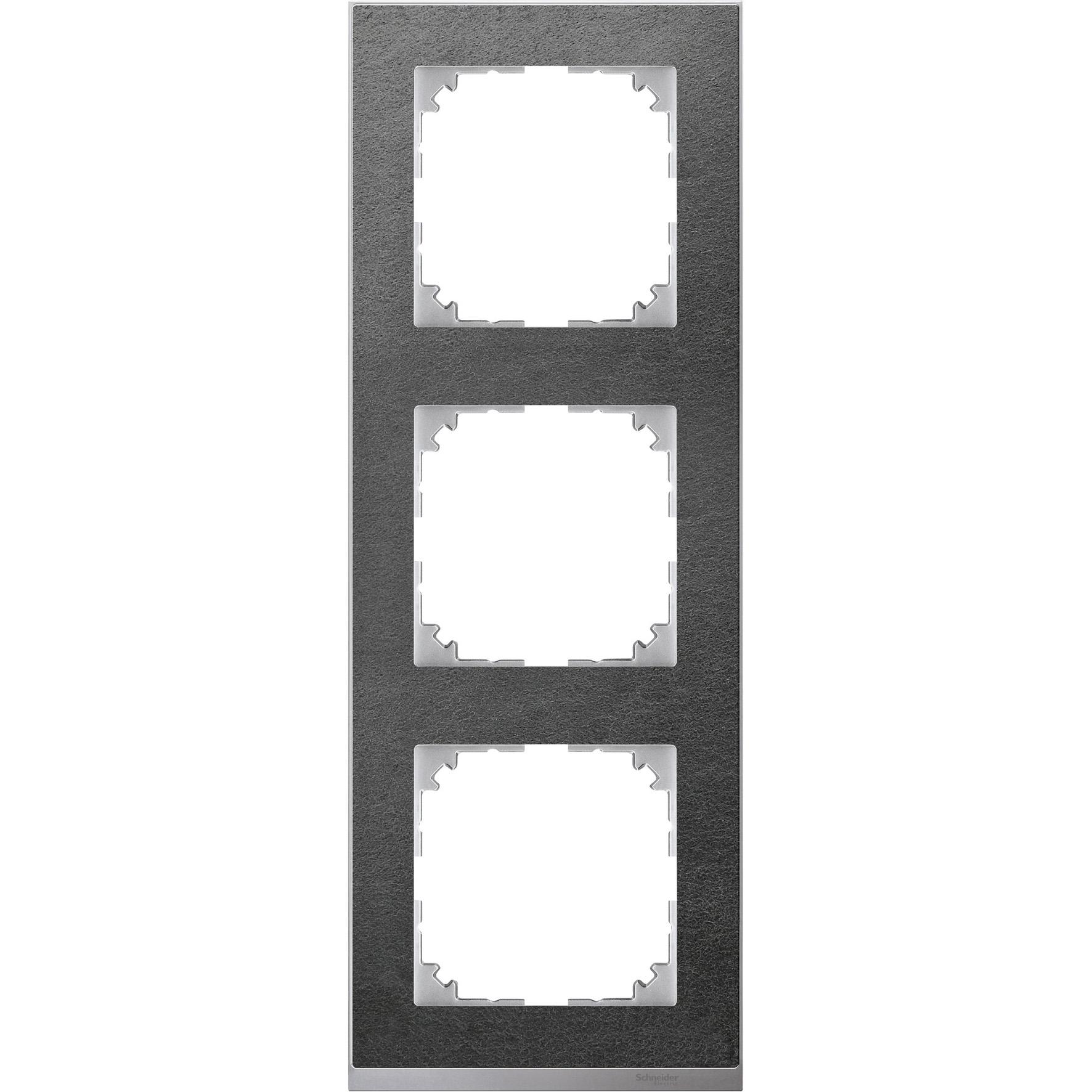 Schneider-Merten M-Pure Décor 3-voudig afdekraam - steen/aluminium (MTN4030-3669)