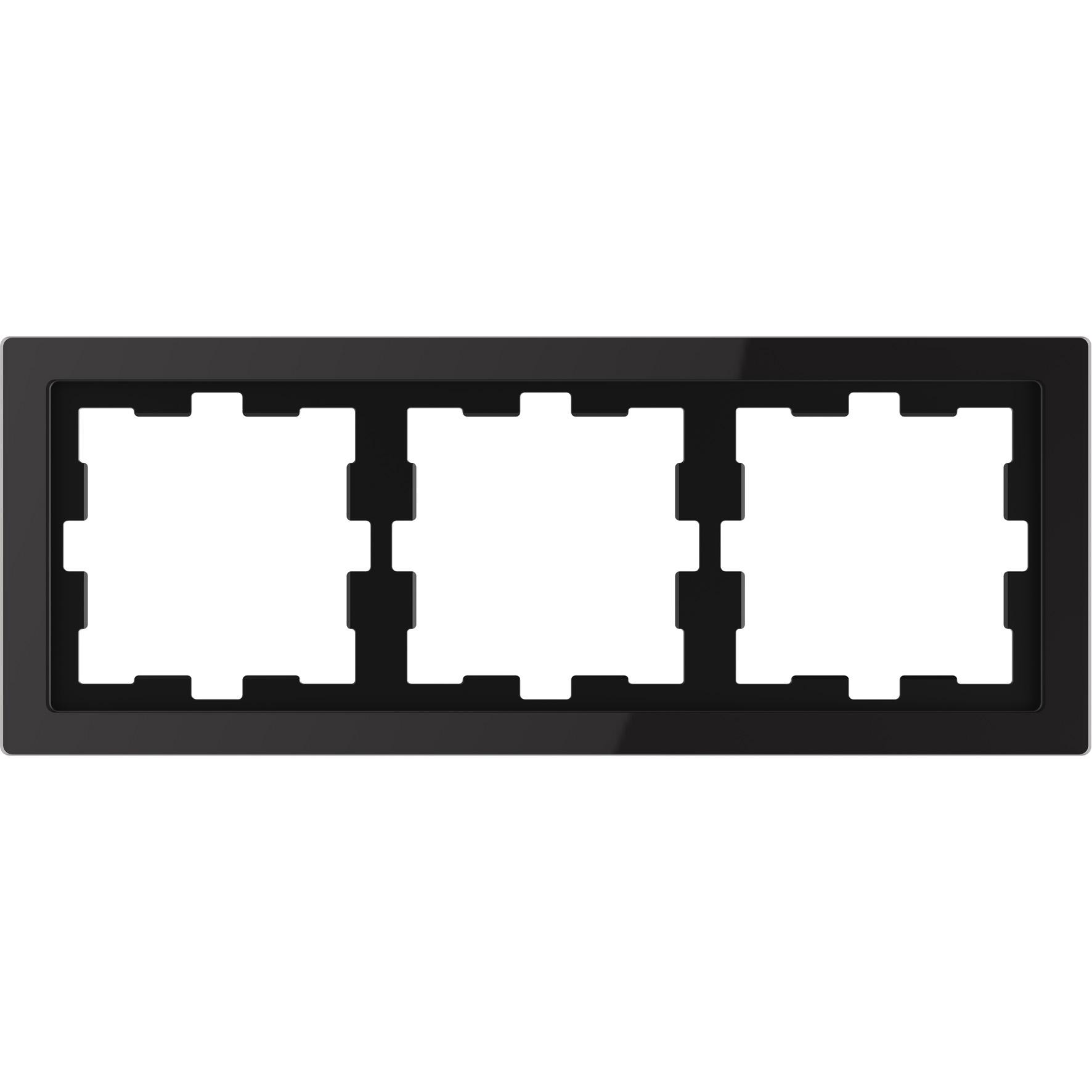 Schneider-Merten D Life afdekraam 3-voudig - glas zwart (MTN4030-6503)