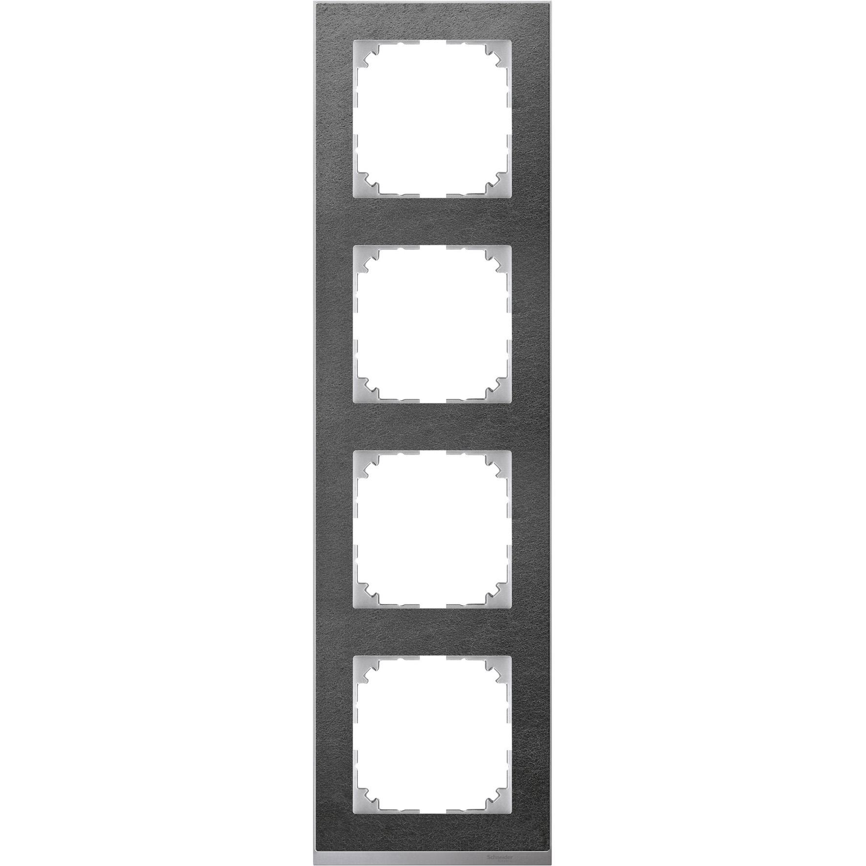 Schneider-Merten M-Pure Décor 4-voudig afdekraam - steen/aluminium (MTN4040-3669)