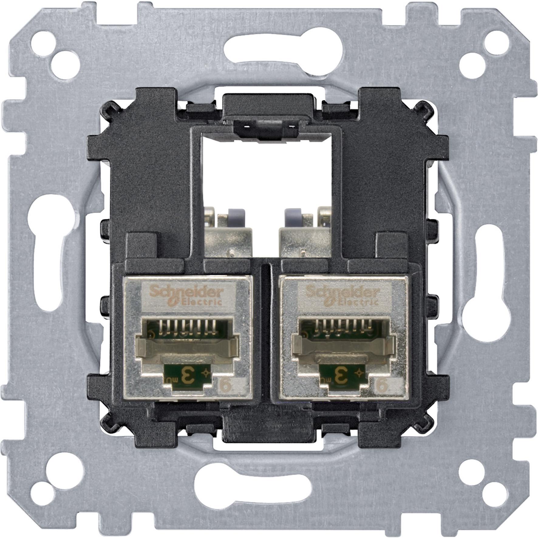 Schneider-Merten draagplaat 2-voudig voor UTP RJ45 cat 6A (MTN4576-0022)