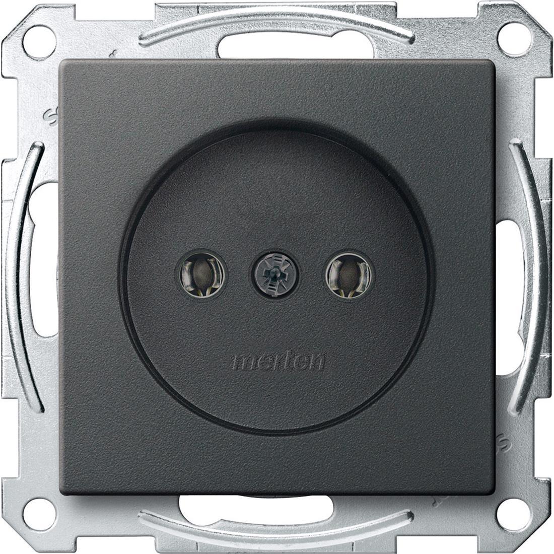 Schneider-Merten systeem M wandcontactdoos zonder randaarde met schroefliftklemmen - antraciet (MTN2001-0414)