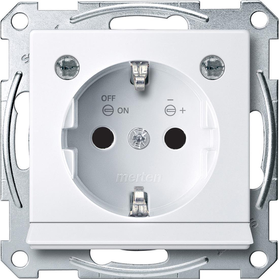 Schneider-Merten SCHUKO wandcontactdoos met LED module - actief wit (MTN2304-0325)