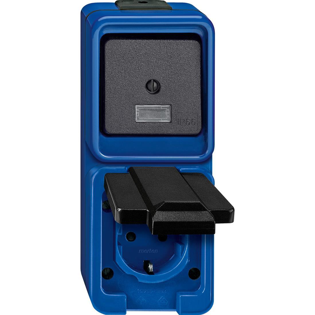 Schneider-Merten Slagvast combinatie schakelaar/wandcontactdoos - blauw (227875)