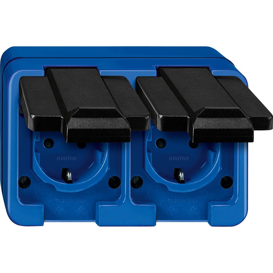 Schneider-Merten Slagvast 2-voudig wandcontactdoos horizontaal - blauw (229275)