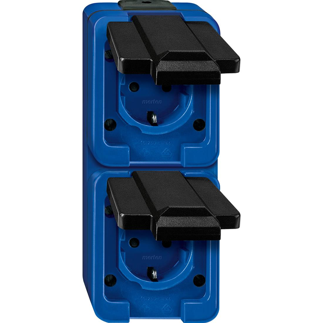 Schneider-Merten Slagvast 2-voudig wandcontactdoos verticaal - blauw (229286)
