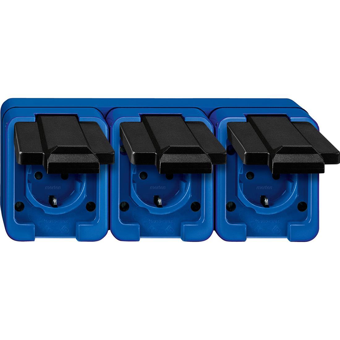 Schneider-Merten Slagvast 3-voudig wandcontactdoos horizontaal - blauw (229375)