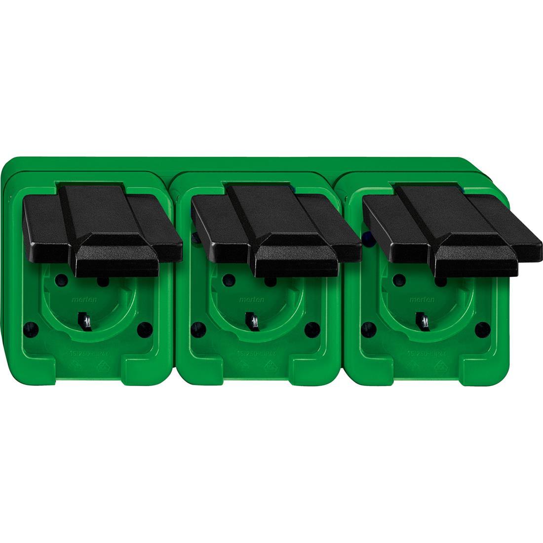 Schneider-Merten Agrar 3-voudig wandcontactdoos horizontaal - groen (229377)