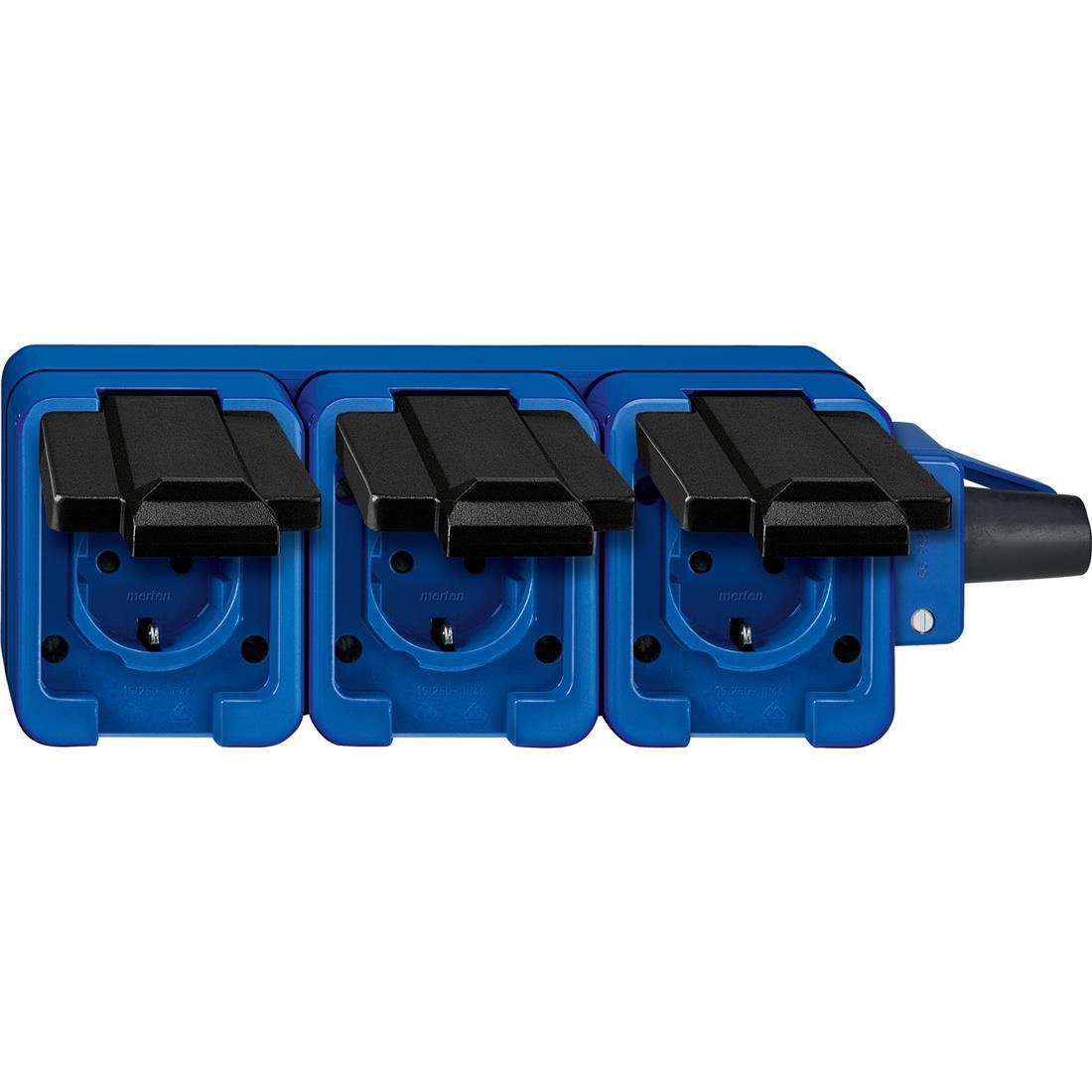 Schneider-Merten Slagvast 3-voudig mobiele wandcontactdoos - blauw (229393)