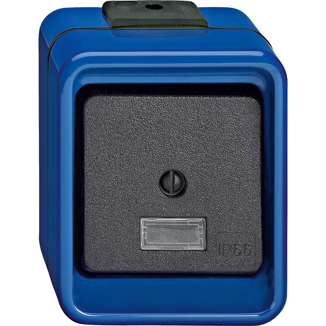 Schneider-Merten Slagvast kruisschakelaar met lamp - blauw (370775)