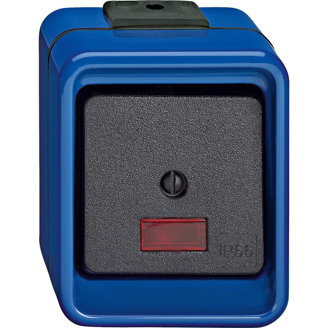 Schneider-Merten Slagvast wisselschakelaar met lamp - blauw (372675)
