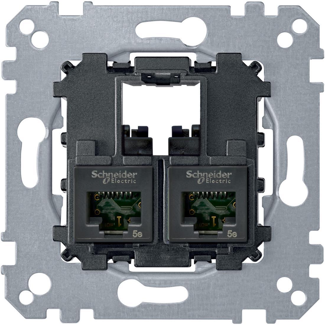 Schneider-Merten draagplaat 2-voudig voor UTP RJ45 cat 5E (MTN4575-0002)