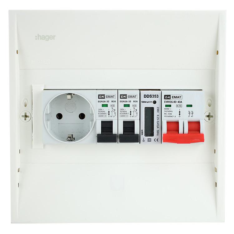 EMAT PV-verdeler 2x B16 groep met WCD, hoofdschakelaar en kWh meter  (PV0002)