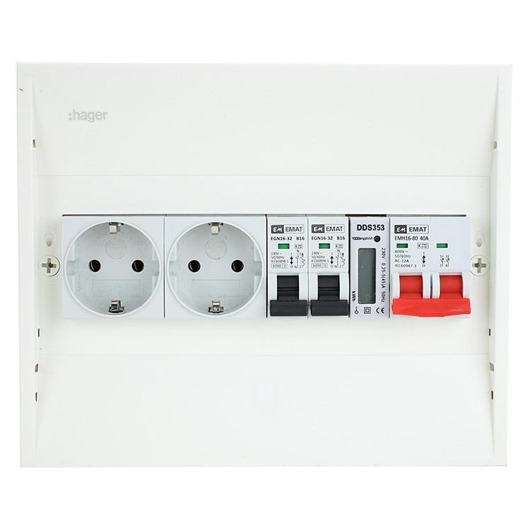 EMAT PV-verdeler 2x B16 groep 2x WCD, hoofdschakelaar en kWh meter (PV0004)