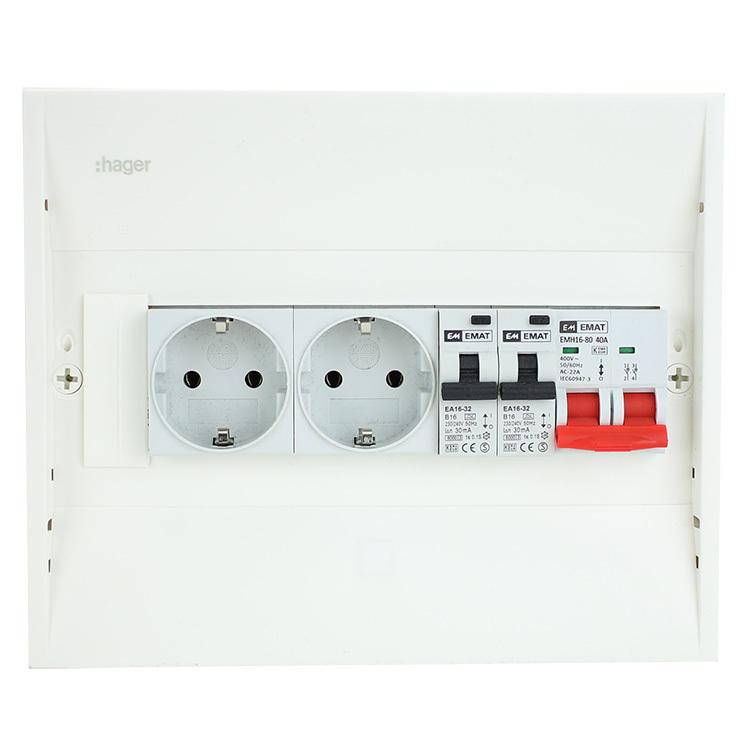 EMAT PV-verdeler 2x B16 alamat met 2x WCD en hoofdschakelaar (PV0007)