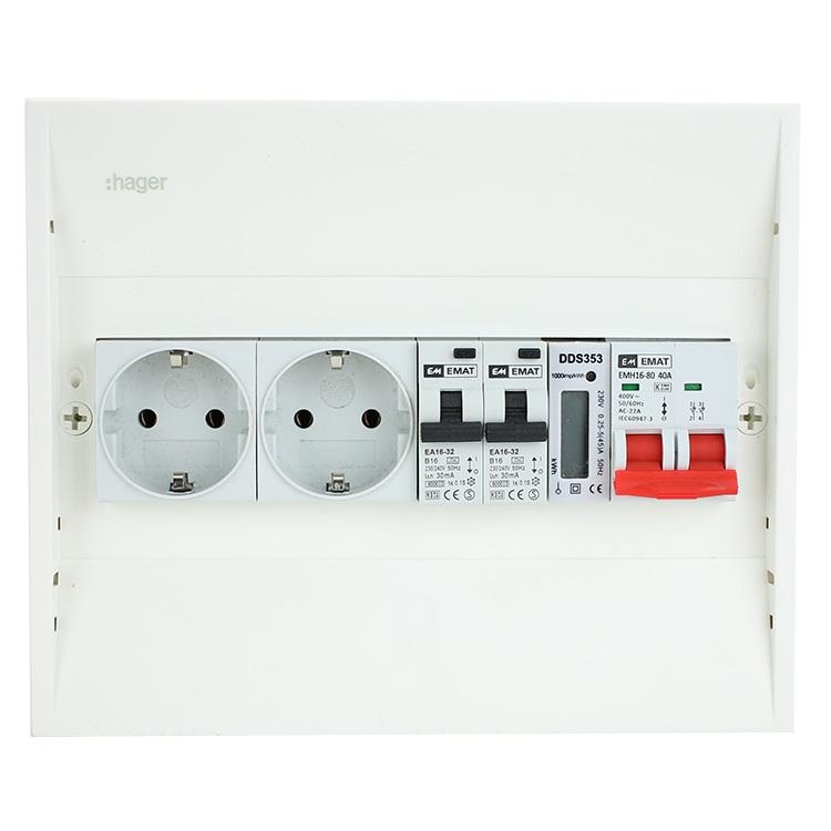 EMAT PV-verdeler 2x B16 alamat met 2x WCD, kWh meter en hoofdschakelaar (PV0008)
