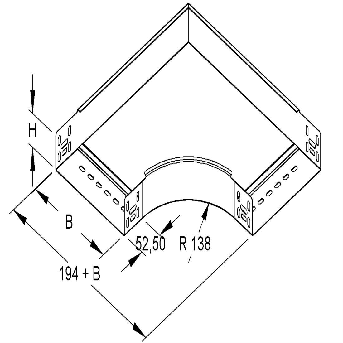 Niedax Kleinhuis kabelgoot bocht 90 graden voor 70 mm breed RES60.070