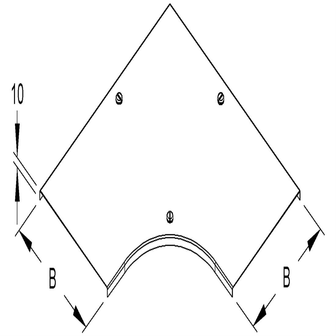 Niedax Kleinhuis kabelgoot deksel voor bocht 90 graden inclusief draaisluiting voor 200 mm breed RESDV200