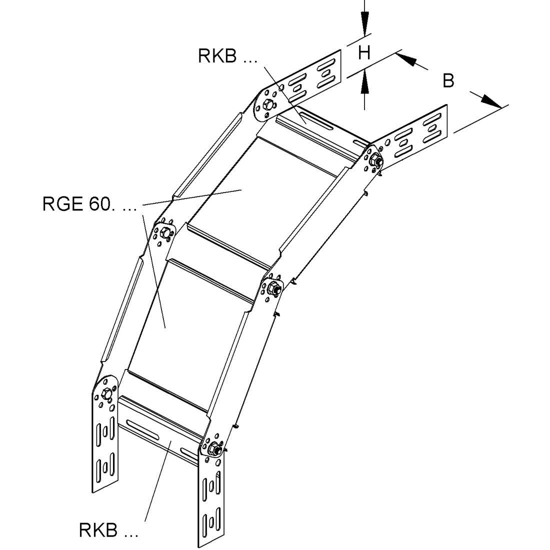 Niedax kabelgoot stijg/vervalstuk 60x300mm (161213)