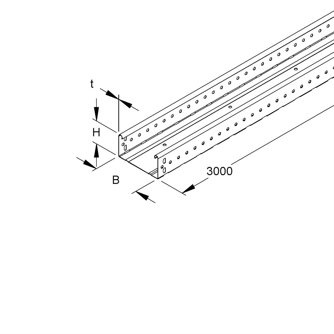 Niedax Kleinhuis kabelgoot gesloten 60x70 mm (HxB) 3 meter + koppelstuk RLUC60.070