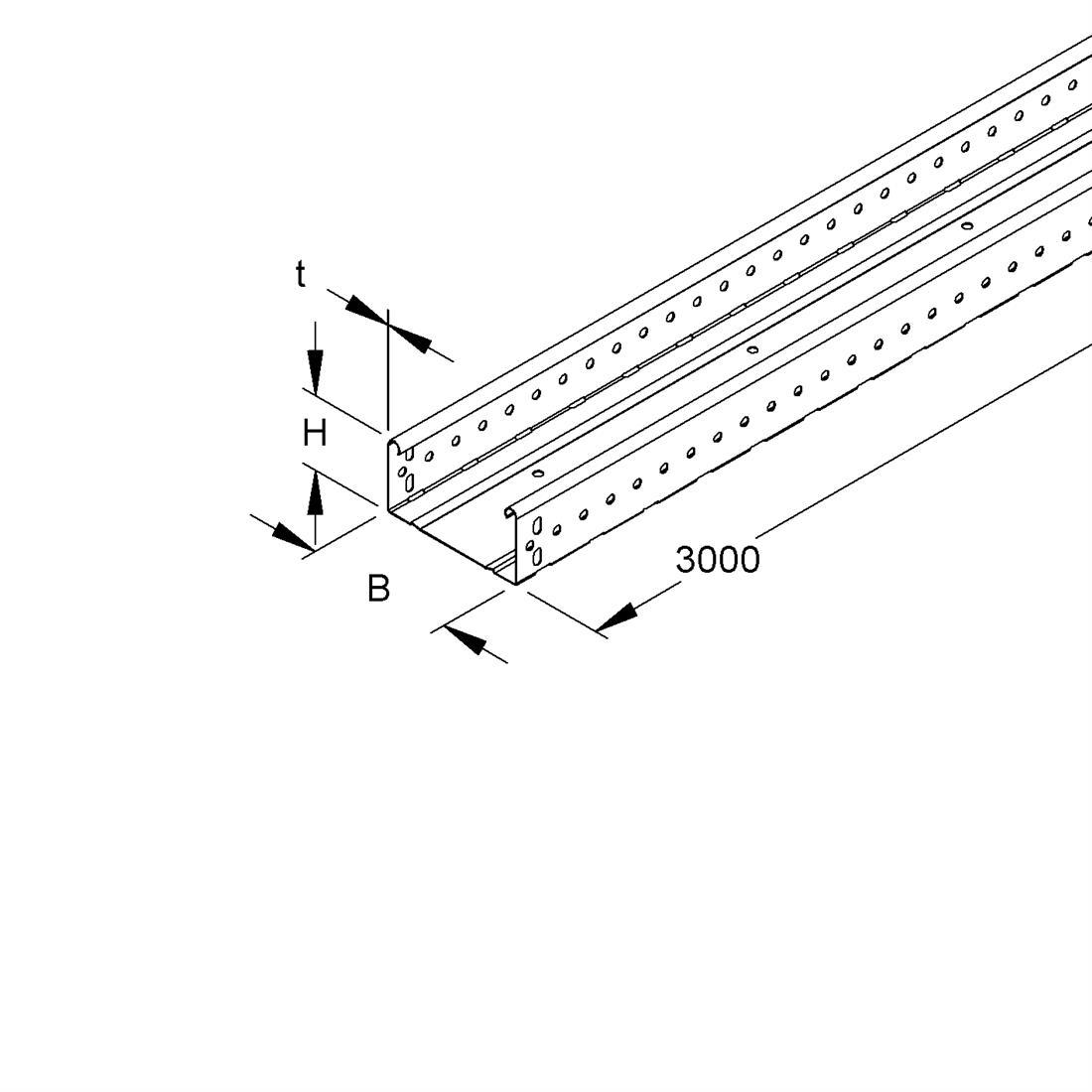 Niedax Kleinhuis kabelgoot gesloten 60x200 mm (HxB) 3 meter + koppelstuk RLUC60.200