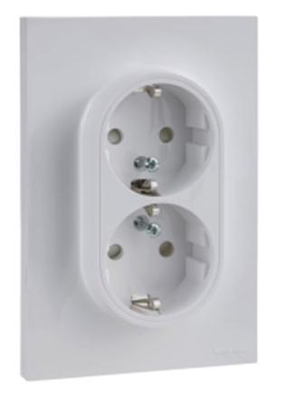 Schneider-Merten Odace dubbele wandcontactdoos met randaarde 16A wit (S521087)