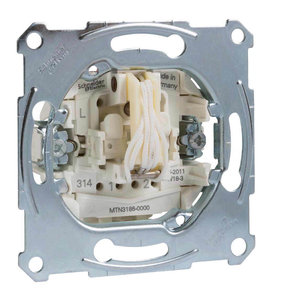 Schneider-Merten trek-/wisselschakelaarsokkel, 1-polig, 10 AX, AC 250 V met steekklemmen (MTN3186-0000)