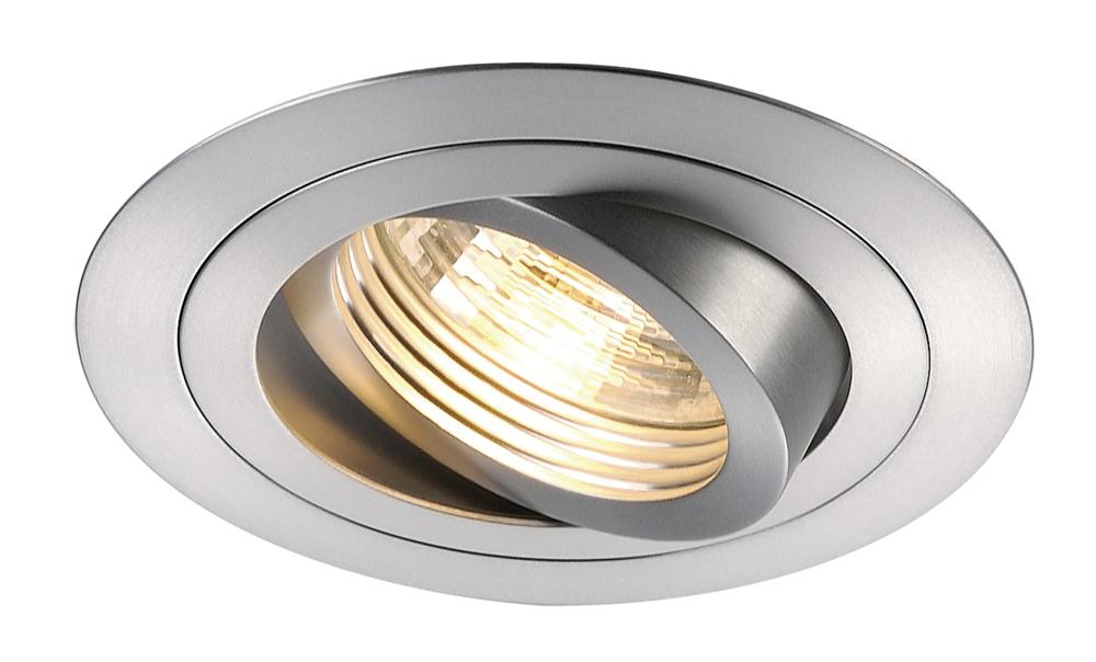 SLV inbouwspot rond kantelbaar geborsteld aluminium Ø93mm (111360)