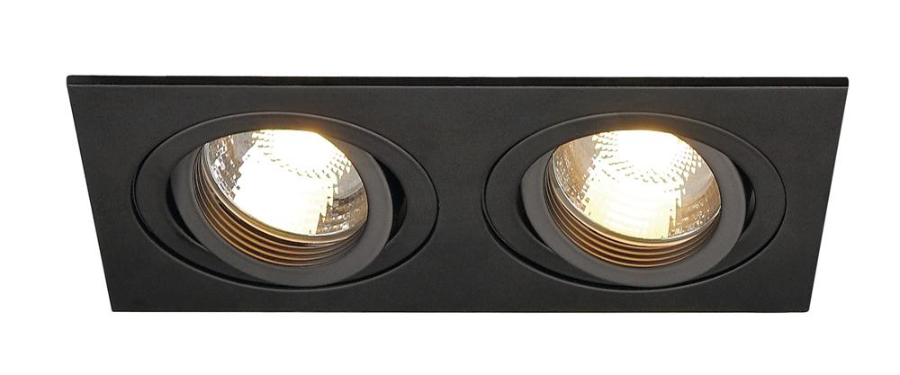 SLV inbouwspot 2-voudig kantelbaar zwart 90x170mm (113492)