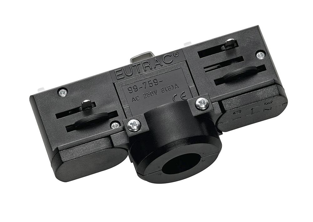 SLV 3-fase spanningsrail adapter zwart