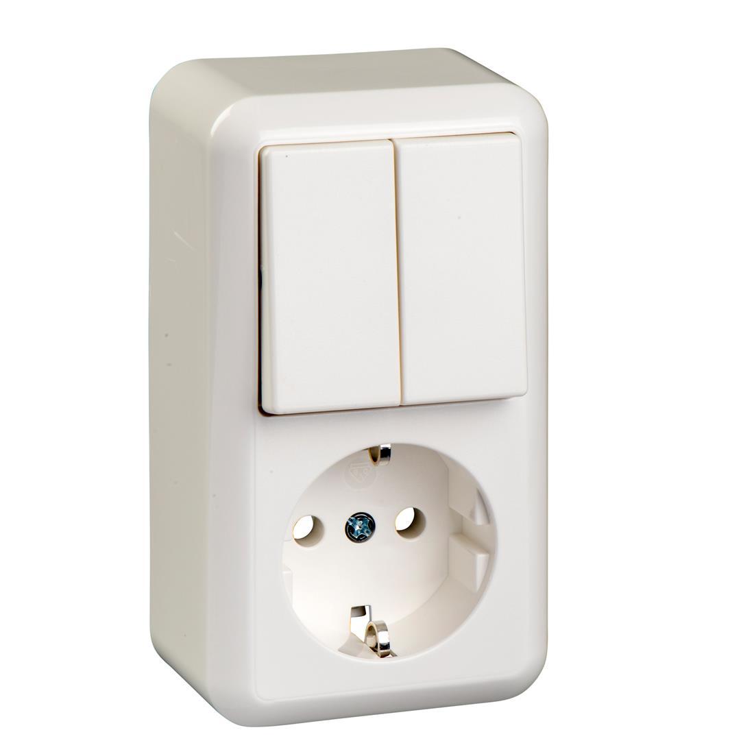 Schneider Electric Merten Contura opbouw combinatie 1-voudig wandcontactdoos met randaarde + serieschakelaar - arctic wit (388504)