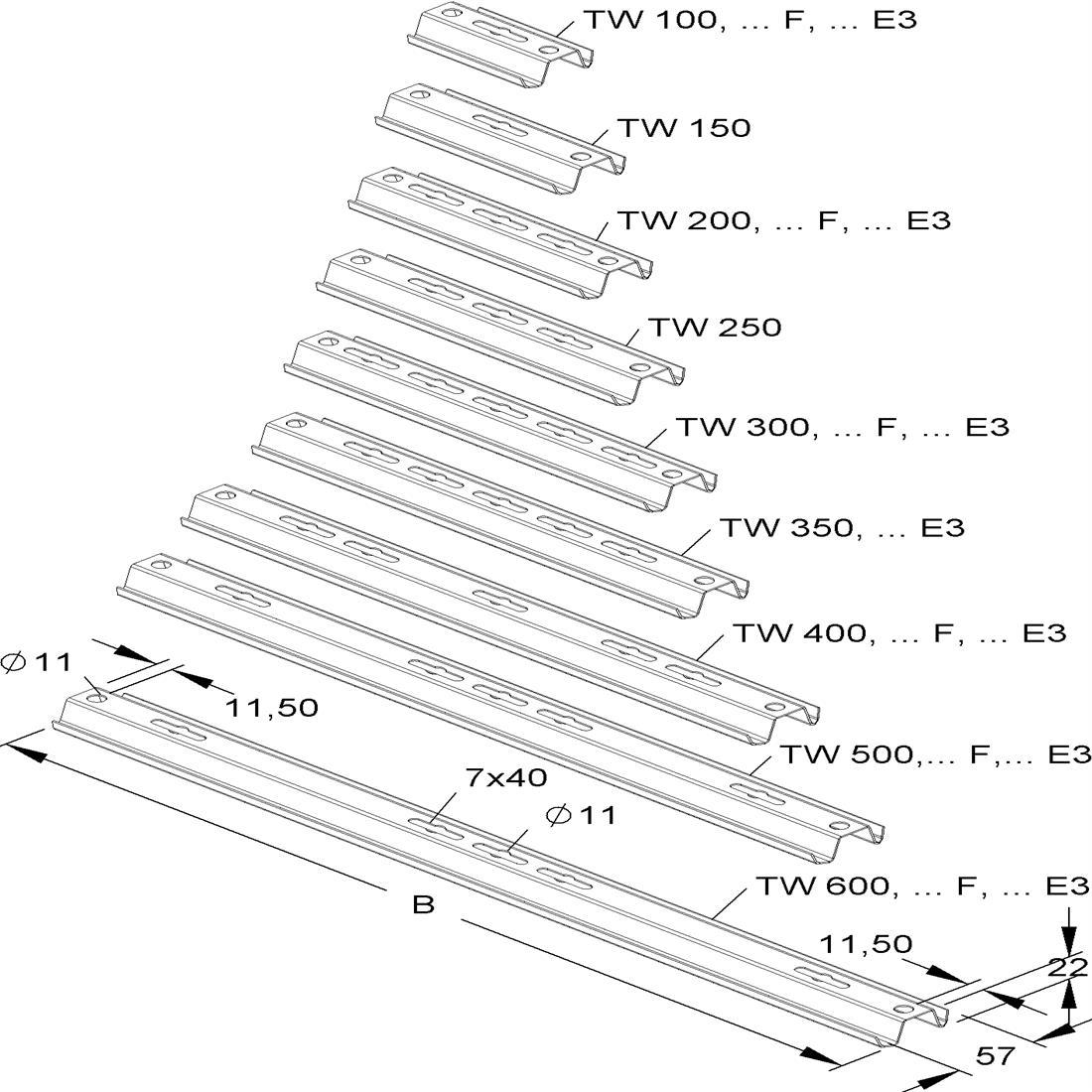 Niedax Kleinhuis kabelgoot ophangrail voor 100 mm breed TW100