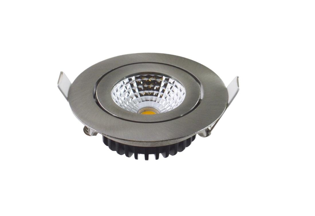 EM Electronics waterdichte inbouwspot dimbaar rond kantelbaar nikkel mat - compleet met lamp en driver - IP54
