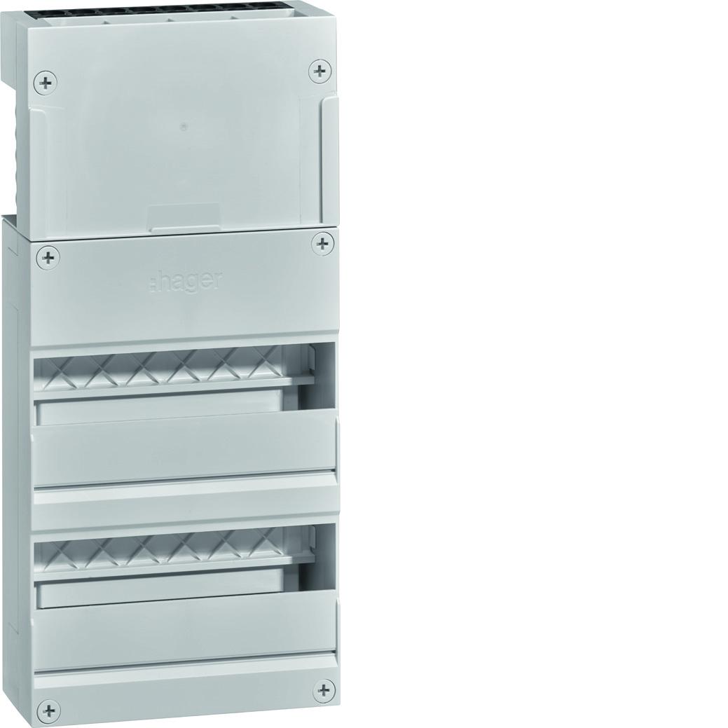 Hager leeg met DIN-rail 2-rijen 12 modules 220x475 mm