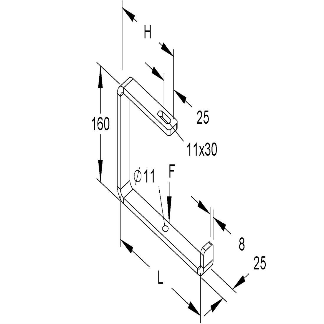 Niedax Kleinhuis kabelgoot ophang beugel open (C-beugel) voor 250 mm breed ZCB250