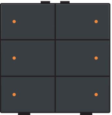 Niko drukknop 6-voudig met LED-indicatie - Home Control antraciet (122-52006)