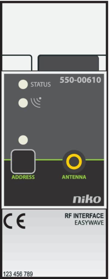 Niko Home Control - RF-interface Easywave Opbouw 550-00610